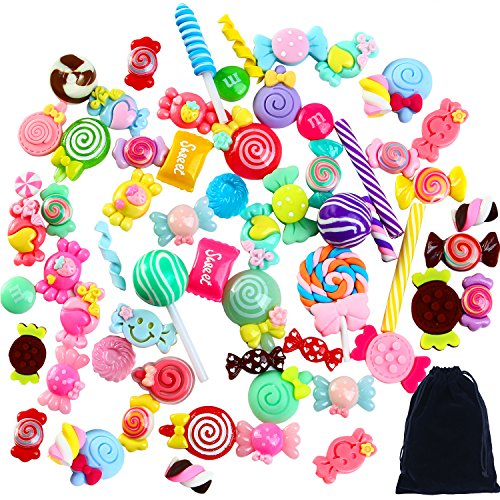 Aneco 60 Pieces Slime Charms Mixed Resin Candy Sweets Beads Slime Bead Making Supplies with Drawstring Pouch for DIY Crafts Scrapbooking