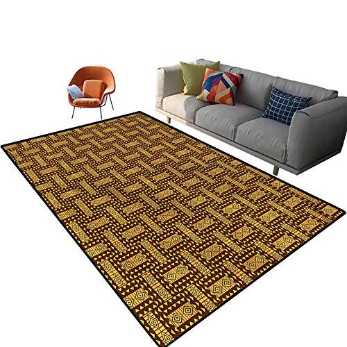 Alfombra rectangular con diseño de Kente para interiores de 15,6 x 9 cm, con parte trasera antideslizante para entrada, sala de estar, dormitorio, guardería, sofá, decoración del hogar
