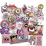 Pink Girly Maleta Maleta de Dibujos Animados Lindo Etiqueta bidimensional Etiqueta engomada del monopatín de la computadora 50PCS