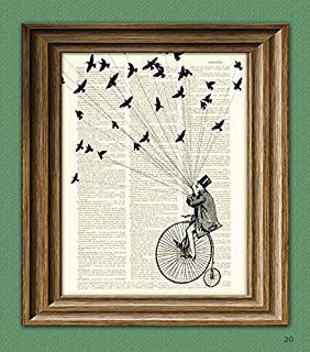 Steampunk Bicycle Art Print 'The Sparrow Thief' Victorian Man On Penny Farthing Bike With Birds Illustration Upcycled Dict...