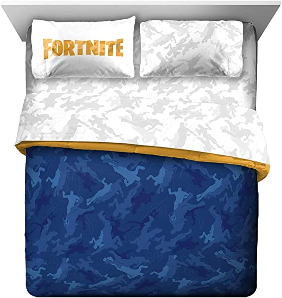 Jay Franco Fortnite Emote Camo 5 Piece Queen Bed Set Includes Reversible Comforter Sheet Set Super Soft Fade Resistant Microfiber Official Fortnite Product