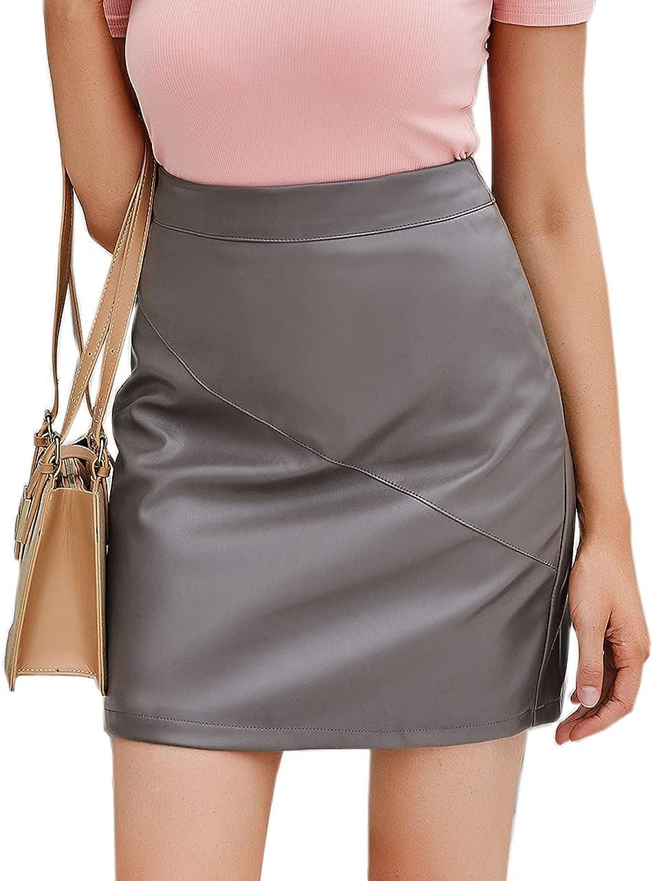 GZDMFS Women's Stretch PU Faux Leather Skirt Back Zipper High Waist Mini Bodycon Pencil Skirts