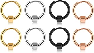 PiercingJ 8pcs Mixed Colors Stainless Steel Plain Circle Endless Small Hoop Earrings for Men Women Huggie Stud Earrings with Hexagon Charm 10-20MM Available