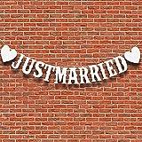 Aloces Just Married Banner recién casados decoración de boda, banderines vintage, decoración para bodas, fiestas, despedidas de soltera, decoración para fotos, coche, fotomatón (blanco)