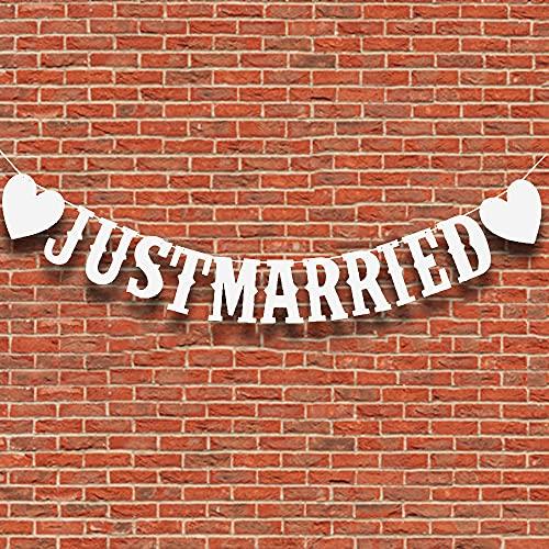 Aloces Just Married Banner recién casados decoración de boda, banderines vintage, decoración...
