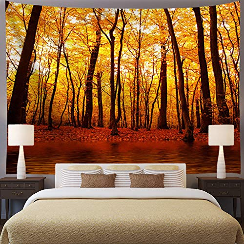 Ameyahud Autumn Forest Tapestry Yellow Trees Tapestry Fall Lake Wall Tapestry Nature Landscape Tapestry Wall Hanging for Living Room Bedroom