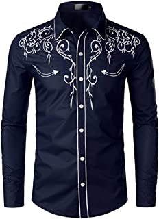 NOBRAND JINYAUN Stylish Western Cowboy Shirt Mens Embroidery Slim Fit Casual Long Sleeve Shirts Mens Wedding Party Shirt