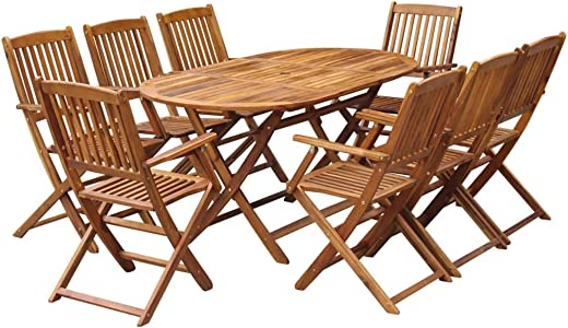 B07P78B182✅Festnight 9 Piece Wooden Outdoor Patio Dining Set Oval Folding Table with 8 Foldable Chairs Eucalyptus Wood Outdoor Furniture Space Saving for Garden Backyard Terrace Balcony