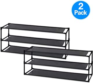 Jerry & Maggie - 3 Tier Shoe Rack Detachable Non-Woven Waterproof Fabric Shoe Organizer Tower Space Saver Stackable Storage Shelf Black | 2 Unit Package