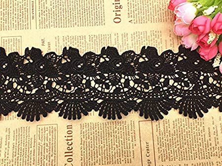 Black 2 Yards in one Package 10CM Width Europe Dazzle Pattern Inelastic Embroidery Lace Trim,Curtain Tablecloth Slipcover Bridal DIY Clothing//Accessories.