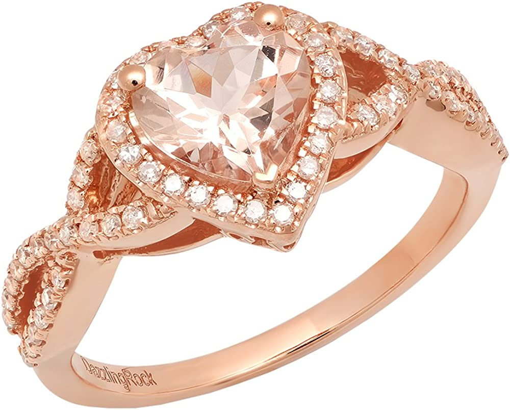 Dazzlingrock Collection 10K 7 MM Heart Morganite & Round White Diamond Ladies Swirl Halo Engagement Ring, Rose Gold