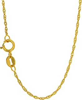 10k Solid Gold Yellow or White 1 mm Singapore Chain Necklace, Spring Ring