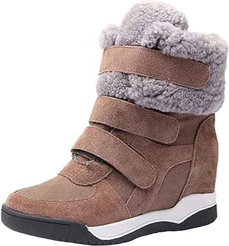 ZHRUI botas de Nieve de tacón Alto para mujer con Velcro en el Aumento de botas Casuales (Color   Caqui, tamaño   35EU)