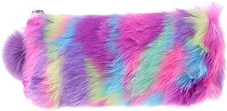 Folewr-8 Kawaii - Estuche transparente para lápices de peluche, para papelería, pincel de maquillaje, color morado