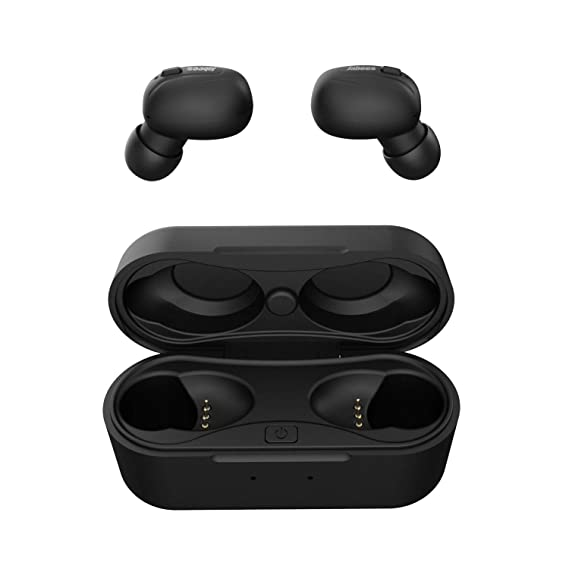 Jabees Beeing Advanced Situational Awareness True Wireless Earbuds Bluetooth 5.0 Fast Charging Earbuds with Microphone Stereo Call and Music, Support, with Qi Enabled Wireless Charging Case (Black)