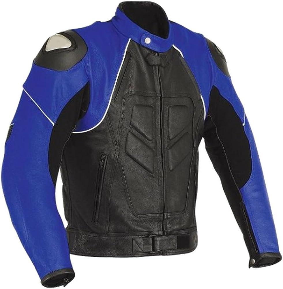 Classyak Men's Genuine Leather Black n Blue Motorbike Jacket