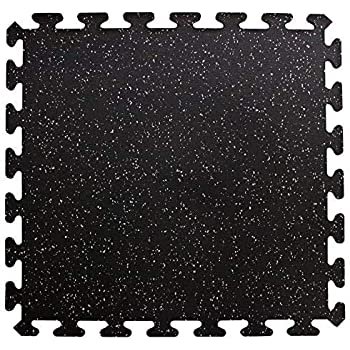 "American Floor Mats Sport 8mm Heavy Duty Rubber Flooring - Interlocking Rubber Tile (23"" x 23"") 10% Grey - Single Tile - Center"