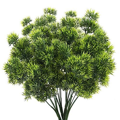 HUAESIN 4pcs Künstliche Kiefernzweig Bush Pflanze Kunstpflanzen Plastik Pflanze deko Künstliche Grünpflanzen Plastikpflanzen für Innen Außen Frühling Balkon Garten Veranda Topf Dekoration Grün