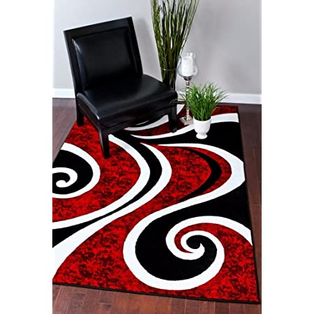 Amazon Com 2305 Gray Black Red White Swirls 5 2 X7 2 Modern Abstract Area Rug Carpet By Persian Rugs Furniture Decor