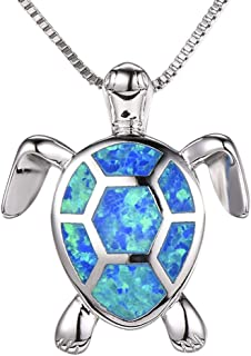 Health and Longevity Sea Turtle Birthstone Jewelry Sterling Silver Created Blue Opal Earring Pendant
