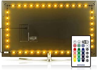 Led Strip Lights 15.2ft for 70,75,80 inch TV 4/Four Sides,WENICE USB LED TV Backlight Kit with Remote - 16 Color 5050 LEDs Bias Lighting for HDTV(4 pcs led Strip Light)