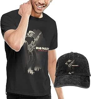 GabrielR Men's Brad Paisley Hits Alive Tshirts Washed Denim Baseball Dad Cap Black