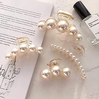 DELFINO Hair Claw Clips for Women, Champagne Pearl Hair Barrettes, Medium Small Hair Catch Claws Pins Clamps, Non Slip Hai...