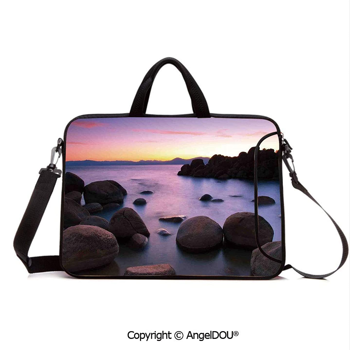 AngelDOU Neoprene Laptop Shoulder Bag Case Sleeve with Handle and Extra Pocket Long Exposure Still Lake with Big Rocks in Blurred Water and Misty Color Sky Sce Compatible with MacBook/Ultrabook/HP/A