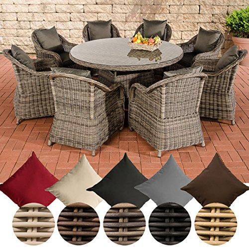 CLP Polyrattan Gartengarnitur Stavanger XL I Gartenmöbel-Set: 8 Sessel und EIN Esstisch I erhältlich Bezugfarbe: Anthrazit, Rattan Farbe grau-meliert