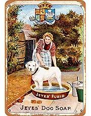 N \ A Stor plåtskylt 1891 Jeyes' hund tvål väggplatta retro aluminium metallskylt väggdekoration 30 x 20 cm
