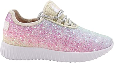 LUCKY STEP Glitter Fashion Girls/Children/Kids Sneakers Walking Slip On Casual Running Jogger Tennis Shoes