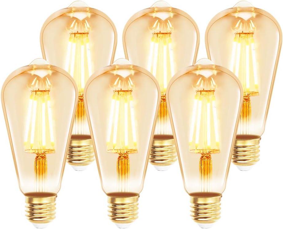 /équivalent /à 60 W 540 lm Extrastat Lot de 6 ampoules globe /à filament LED E27 6 W blanc chaud 2 200 K non r/églable