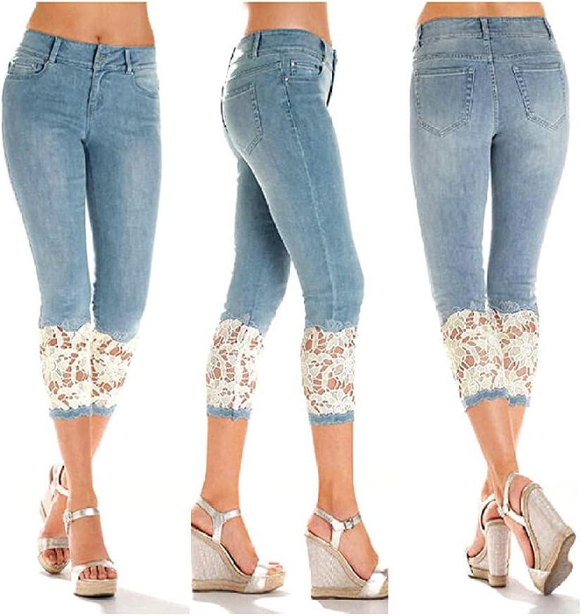 Plus Size Capri Leggings for Women, Cropped Jean Leggings Lace,Cropped Jeans with lace Trim-Dark_Blue_S