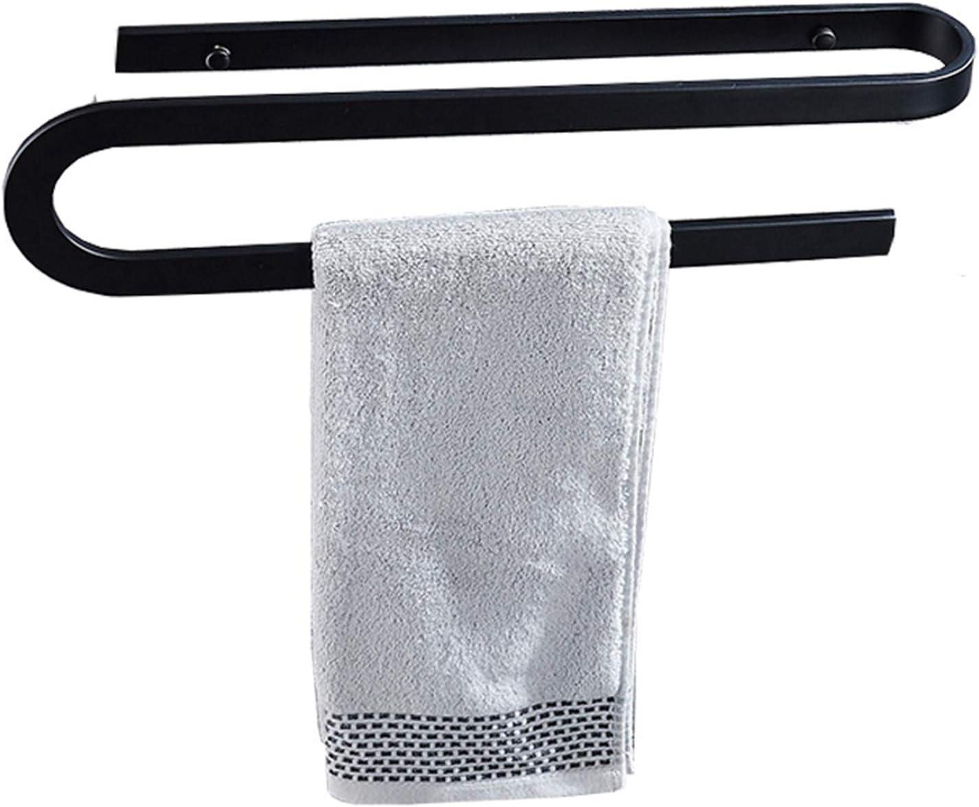 Black Towel Rack S-Shaped Max 73% OFF Single Space Genuine Free Shipping Wall Aluminum Bar
