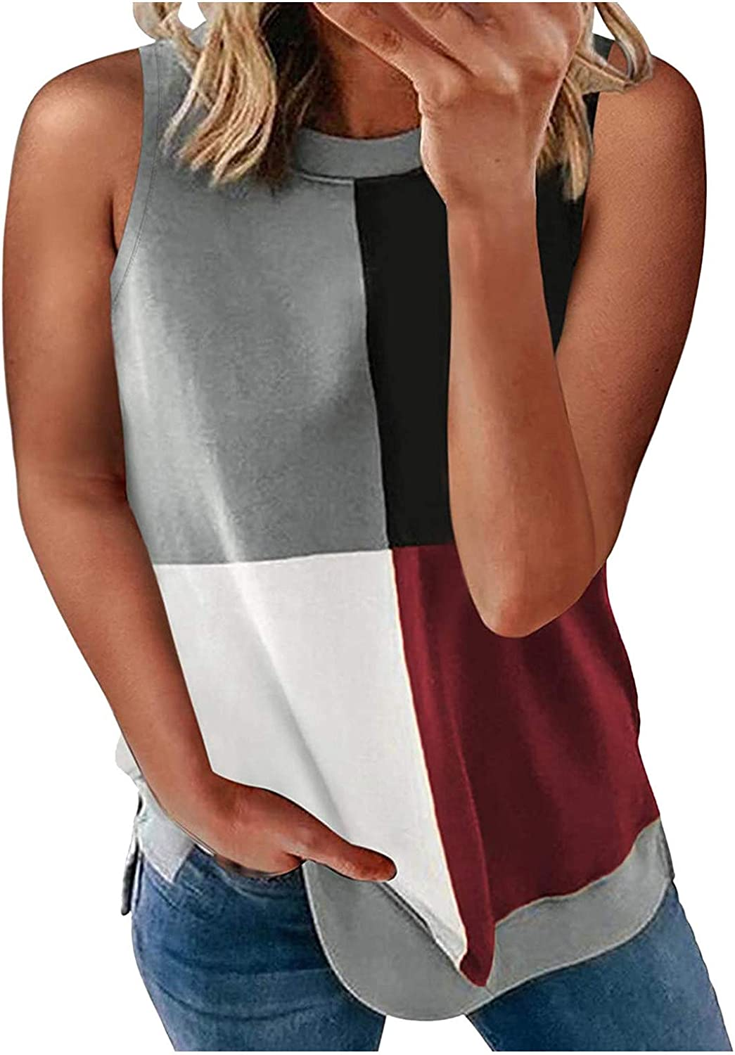 Hesxuno Tank Tops for Women Fashion Print Sleeveless Active Lightweight Casual Loose Tunic Trendy Workout Sport Tank Tops