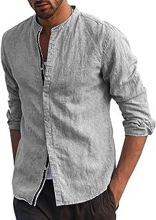 Fueri Mens Long Sleeve Shirt Cotton Linen Shirt Grandad Button Down Casual Henley Shirts Slim Fit Lightweight Summer Dress...