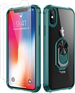 iPhone X Case | iPhone Xs Case, with [ Glass Screen Protector][ Military Grade ] 15ft. Drop Tested Protective Case | Kickstand | Compatible with Apple iPhone X Xs -Dark Green