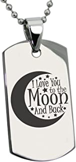 Tioneer Stainless Steel Crescent I Love You to The Moon and Back Dog Tag Pendant Necklace