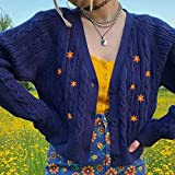 UANOU Cárdigans Bordados Florales para Mujer, suéteres Y2k de Gran tamaño de otoño, Abrigos Coreanos Harajuku Vintage, Tops estéticos Bonitos y psicópatas