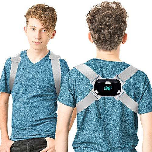 Posture Corrector for Kids Women Men Smart Back Straightener with Intelligent Sensor Vibration Adjustable Upper Back Braces Posture Trainer Slouching Humpback Neck Support Shoulder Straps Fit 50~176lb