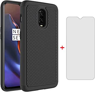 Phone Case for Oneplus 6T with Tempered Glass Screen Protector Cover and Rugged Silicone Hard Heavy Duty Slim Protective Accessories Oneplus6T A6013 1 One Plus 1plus One+ 1+ 1+6T Cases Women Men Black
