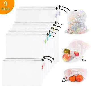 Eono by Amazon - Bolsas Compra Reutilizables Ecológicas Bolsa de Malla para Almacenamiento Fruta Verduras Juguetes Lavable y Transpirable, 9 Set (2L+5M+2S)