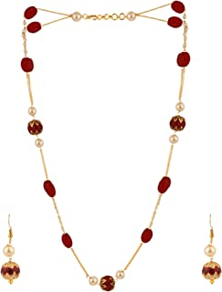 Indian 14 K Gold Plated Layered Multicolor Faux Ruby Emerald Pearl Beads Strand Neckalce Earrings Set Fashion Costume Jewelry