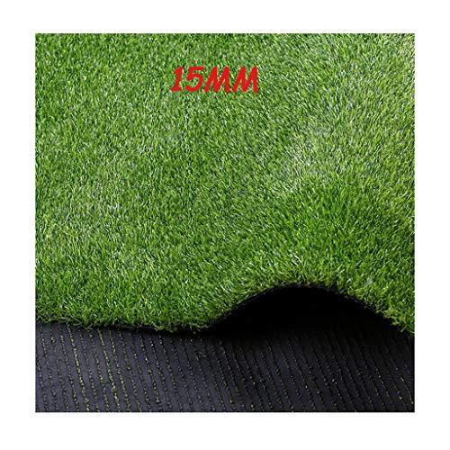 XEWNEG Kunstrasen 15mm Encryption Simulation Rasen, Im Freien Teppich Kunststoff-Fälschungs-Rasen Balkon Artificial Strohmatte Grünpflanze Dekoration Garten Rasen (Size : 2x1M)