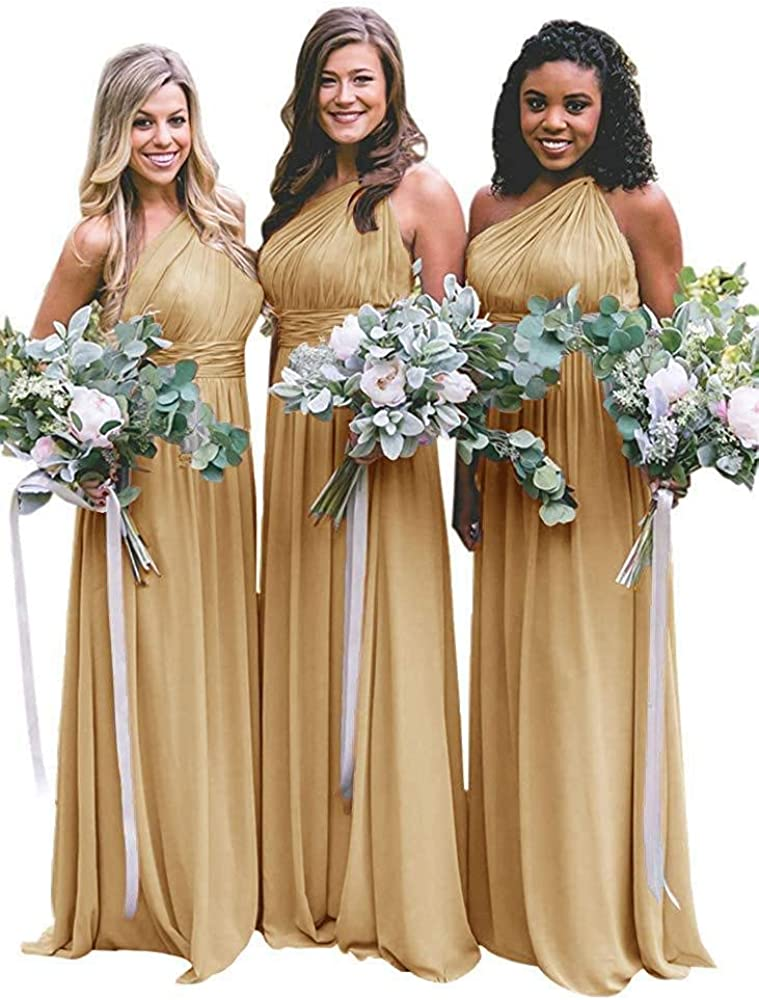 MEET Women's One Shoulder Pleated Chiffon Bridesmaid Dresses Long Ruched Elegant Prom Dress for Wedding 2021