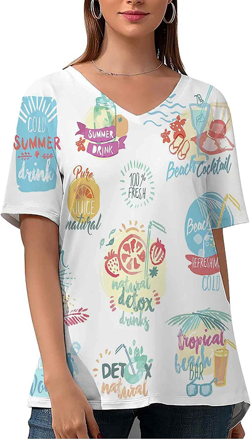 Cute V Neck Tops Set of Different Trees by Watercolor Vector