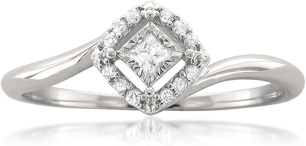 1 8 Carat Award Diamond Prong-Set 10kt White Roun Gold Max 88% OFF Princess-cut