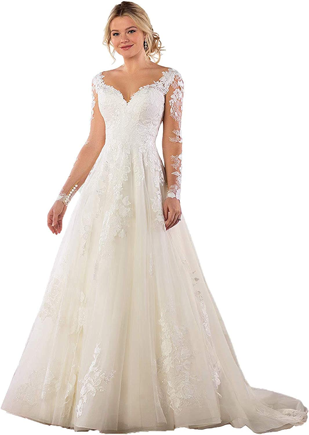 Meganbridal High quality Women's Illusion Al sold out. Long Sleeve Gown Bridal V-Neck Lace