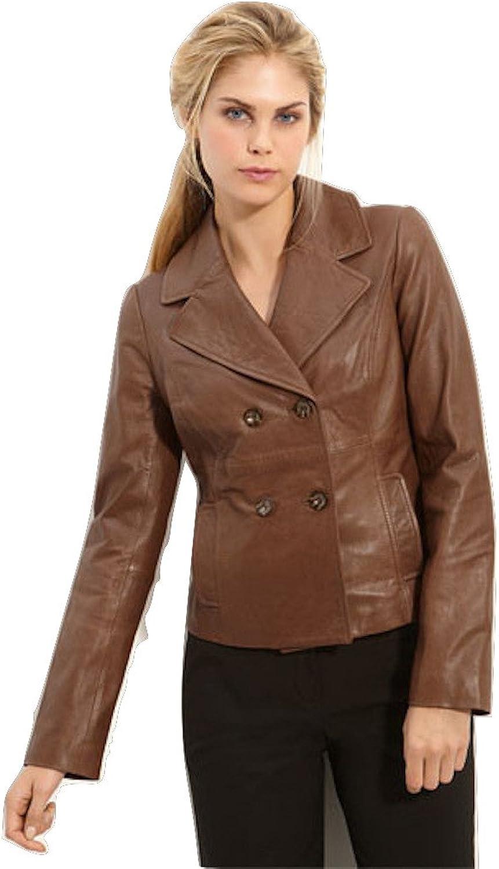 Fadcloset Womens Carrie 4 Button Lambskin Leather Jacket