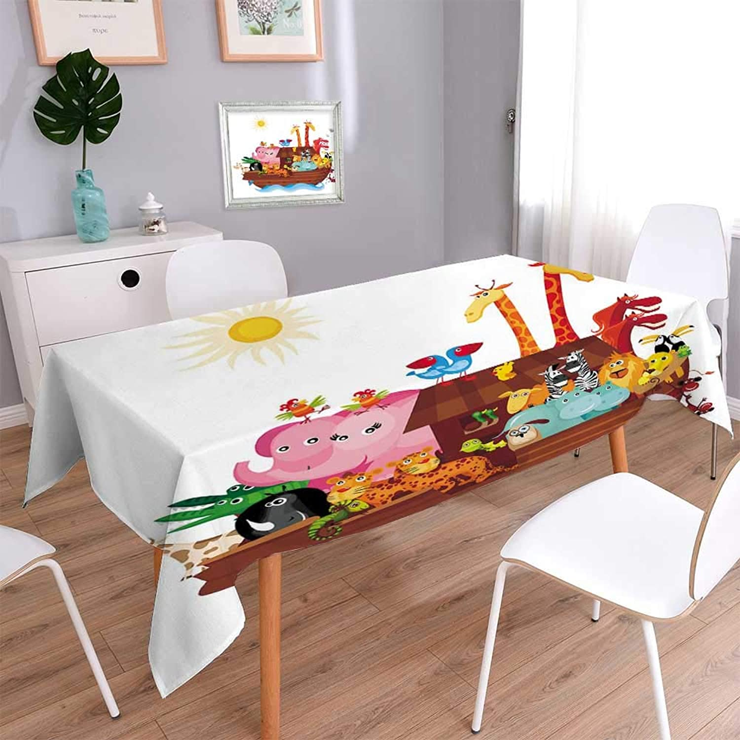 PINAFORE HOME Polyester Cloth Fabric Cover Noah Ark Heavy Weight Cotton Linen Fabric Decorative Rectangle, 70 x 120 Inch